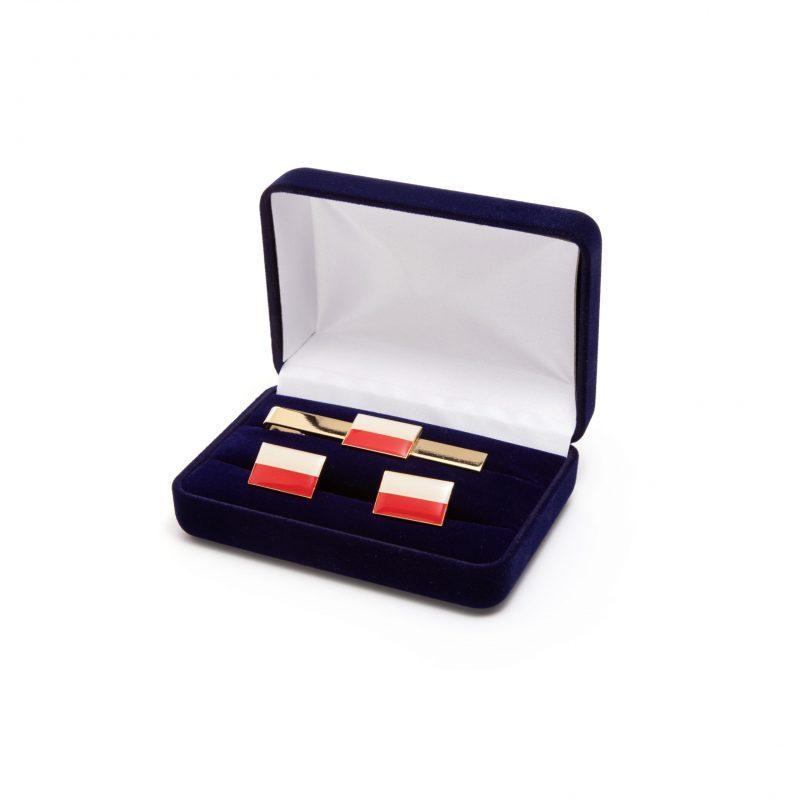 Etui flokowane na przypinki spinki do krawatu mankietów